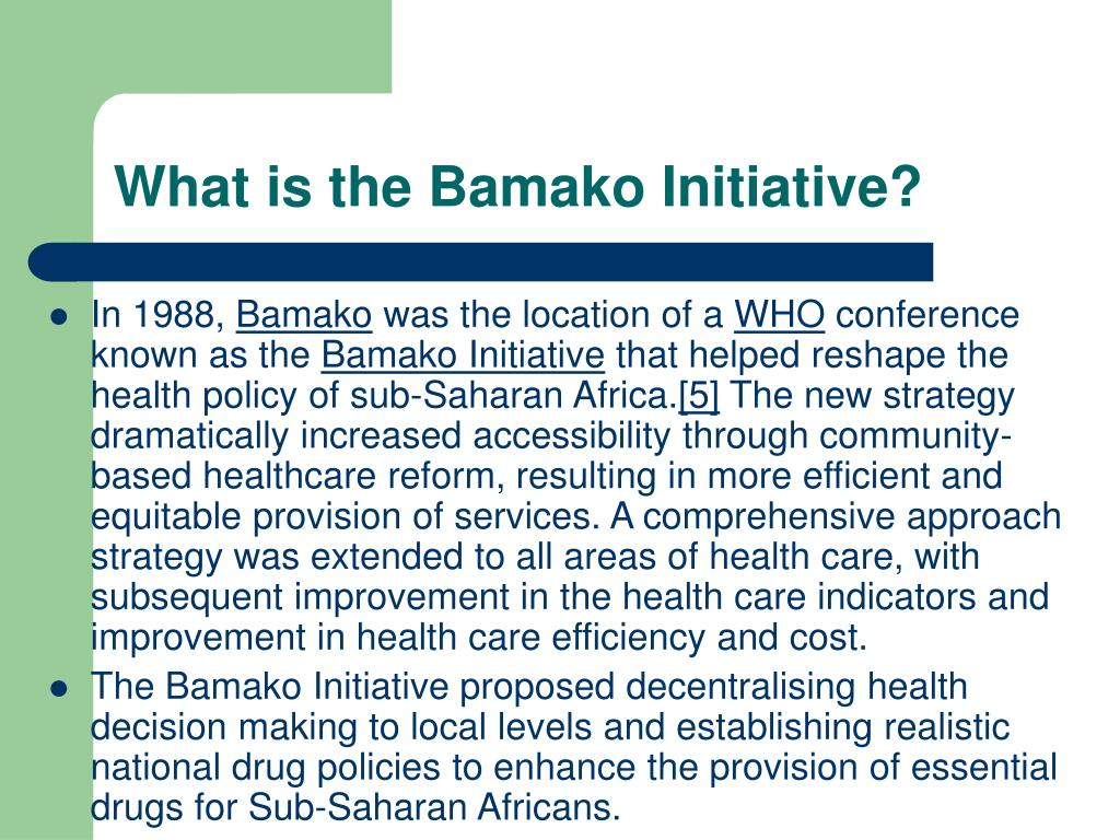 What is the Bamako Initiative?