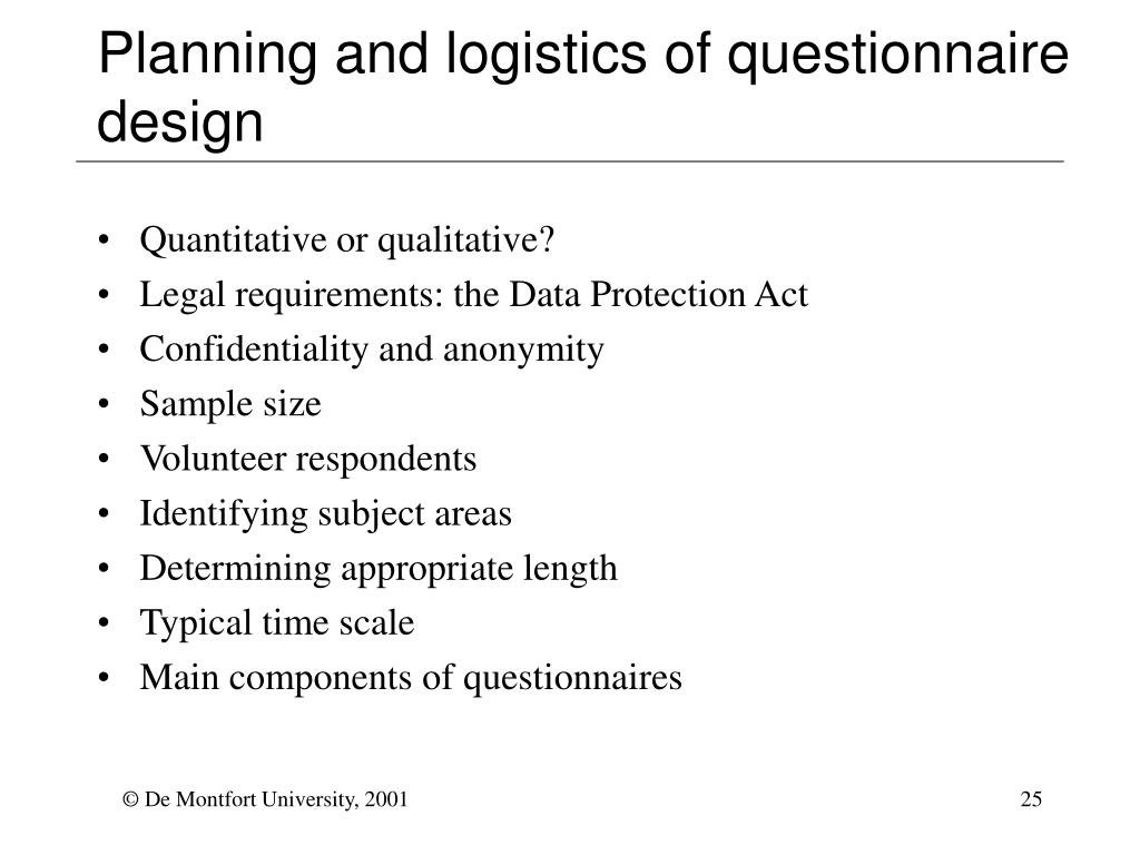 Planning and logistics of questionnaire design