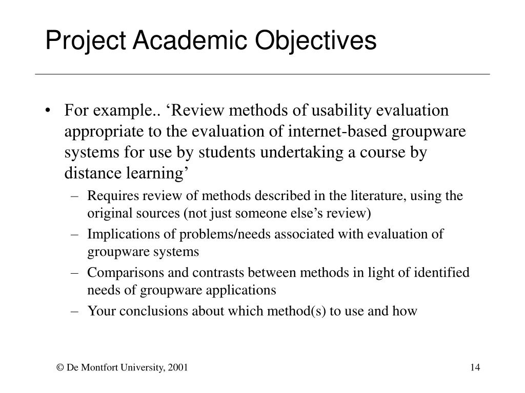 Project Academic Objectives