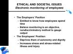 ethical and societal issues electronic monitoring of employees186