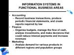 information systems in functional business areas
