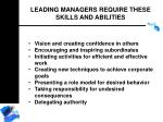 leading managers require these skills and abilities