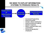 we need to exploit information systems to produce results