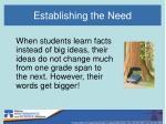 establishing the need4