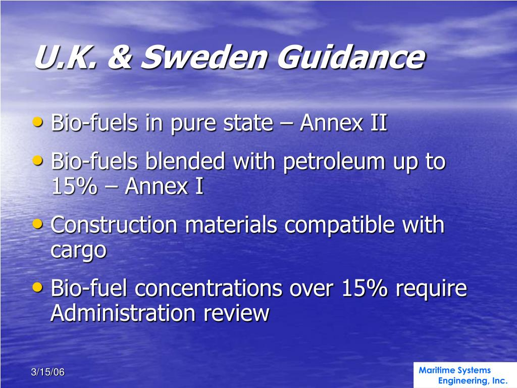 U.K. & Sweden Guidance
