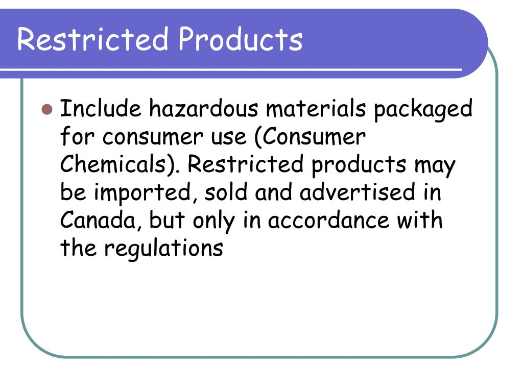 Restricted Products