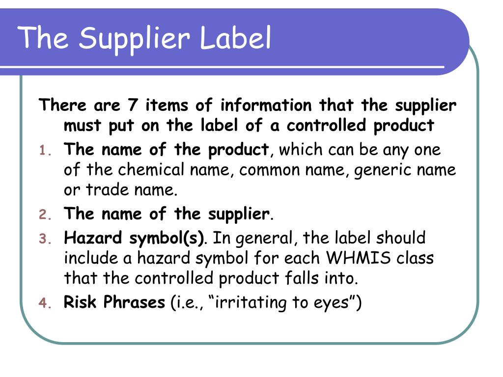 The Supplier Label