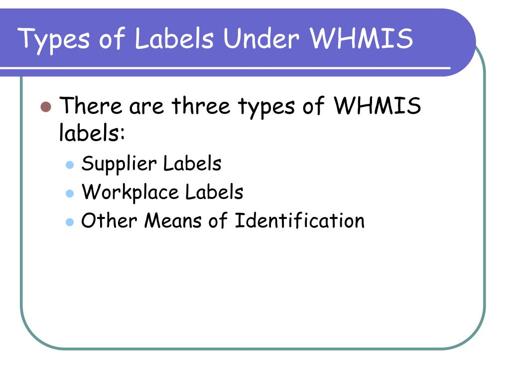 Types of Labels Under WHMIS