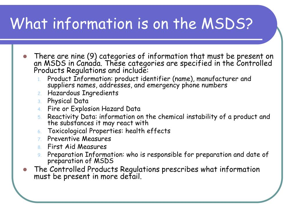 What information is on the MSDS?