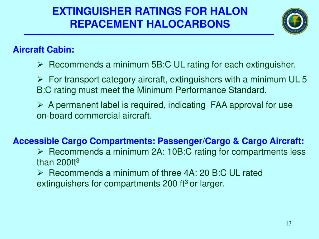EXTINGUISHER RATINGS FOR HALON REPACEMENT HALOCARBONS