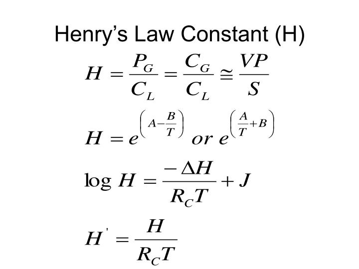 Henry s law constant h