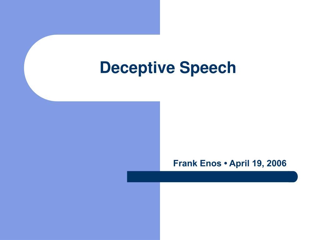deceptive speech l.