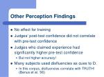 other perception findings
