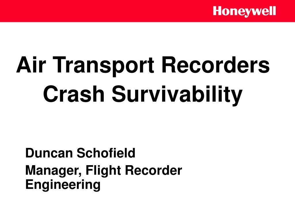 air transport recorders crash survivability l.