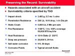 preserving the record survivability