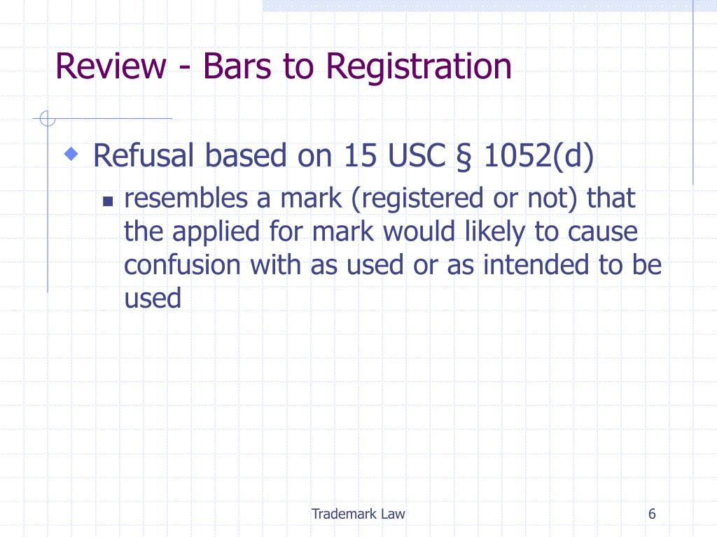 Review - Bars to Registration