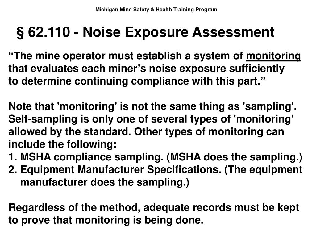 § 62.110 - Noise Exposure Assessment