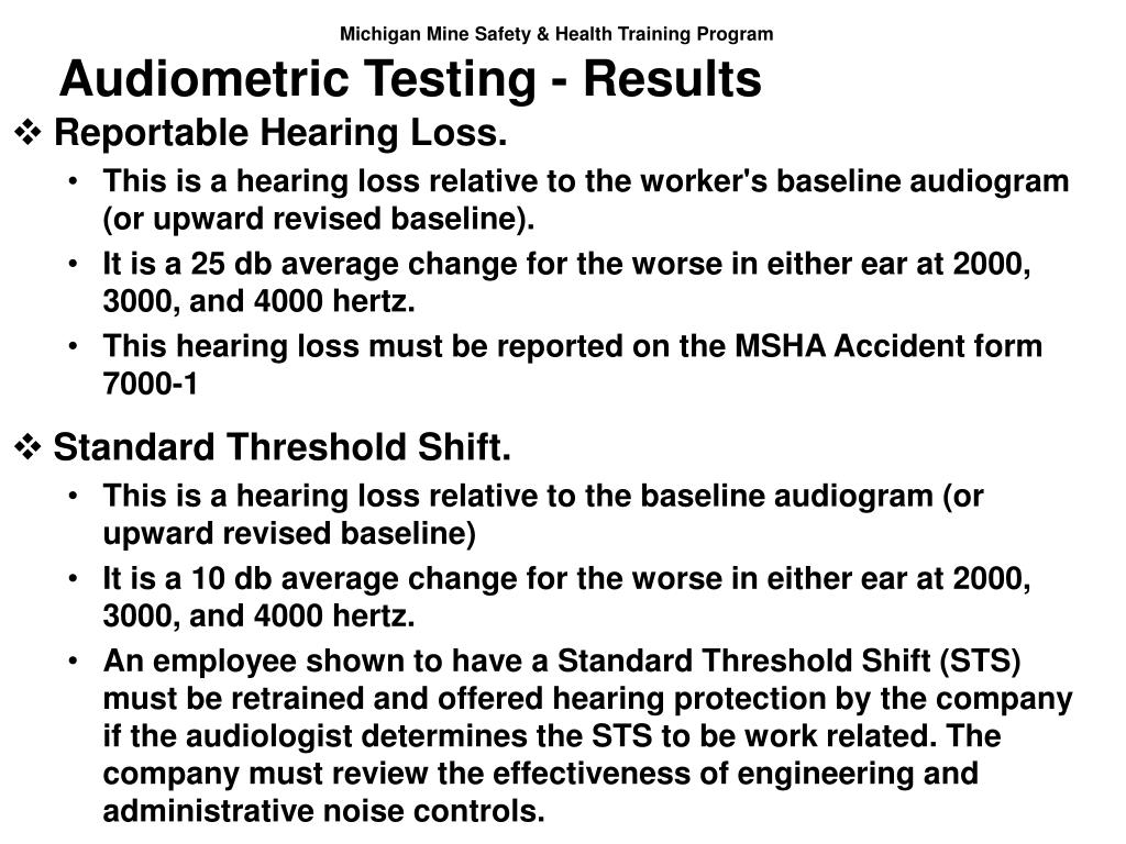 Audiometric Testing - Results