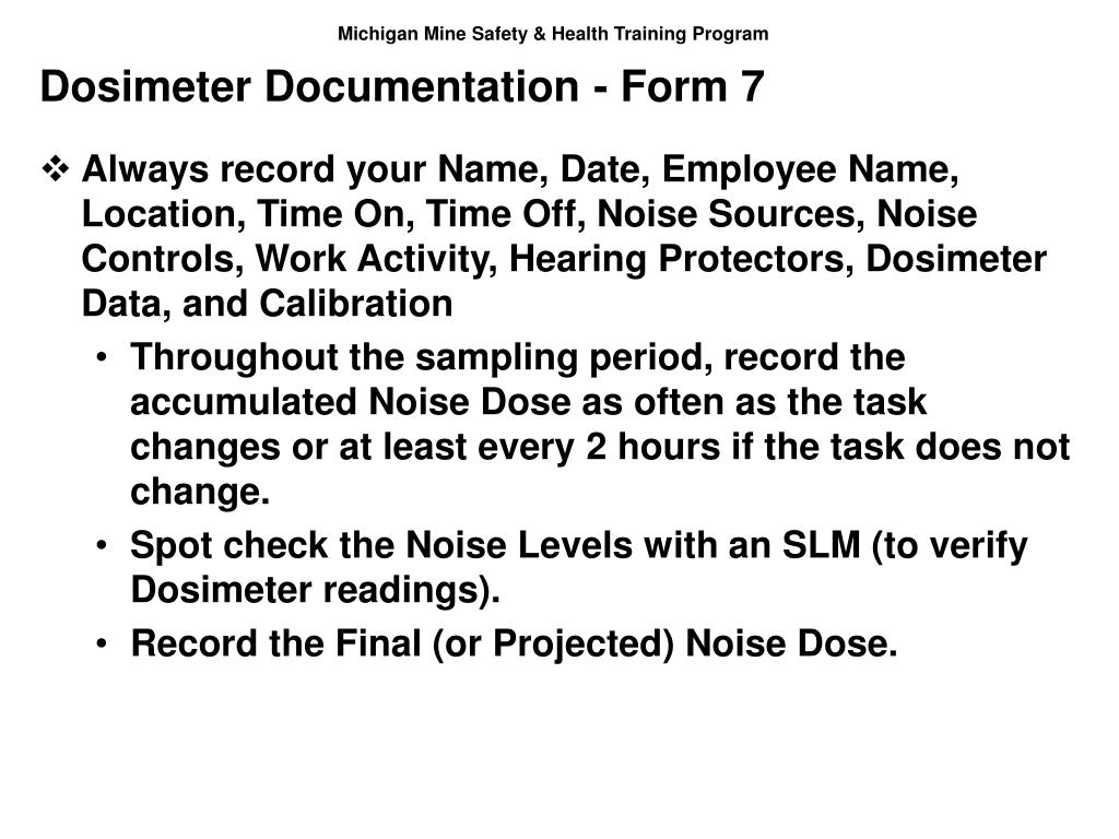 Dosimeter Documentation - Form 7