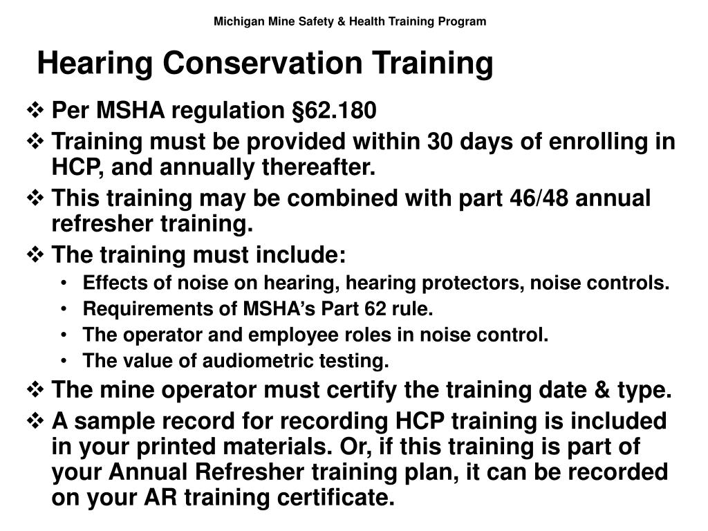 Hearing Conservation Training