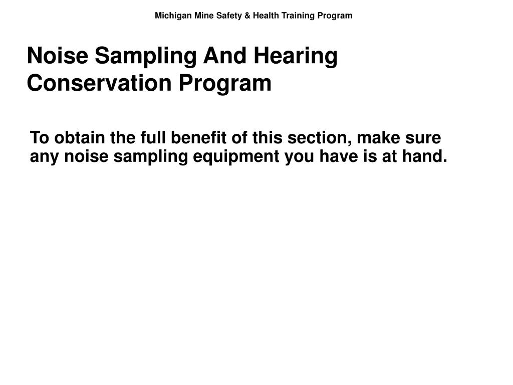 Noise Sampling And Hearing Conservation Program