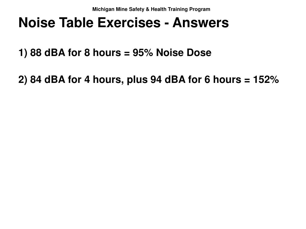 Noise Table Exercises - Answers