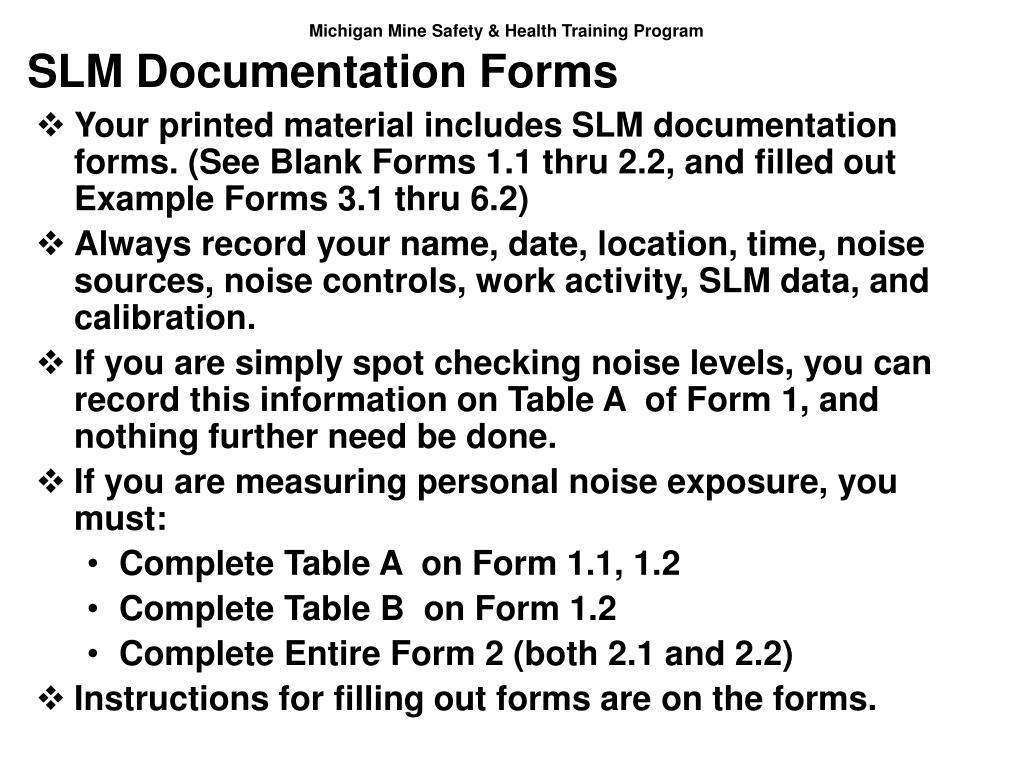 SLM Documentation Forms