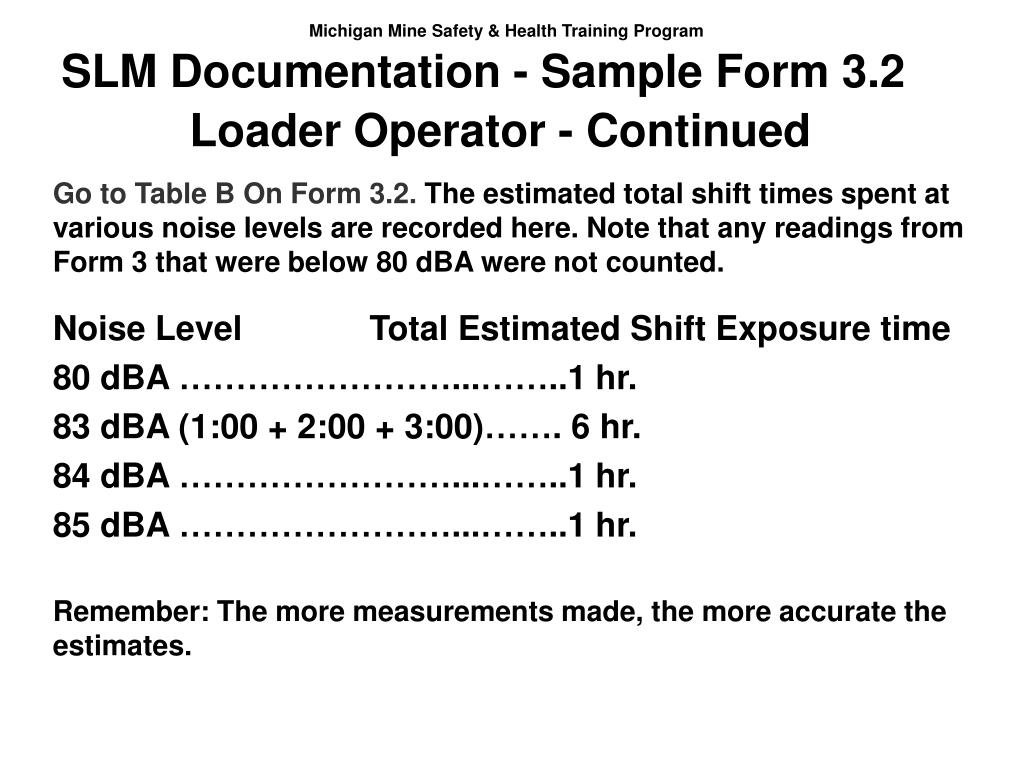 SLM Documentation - Sample Form 3.2