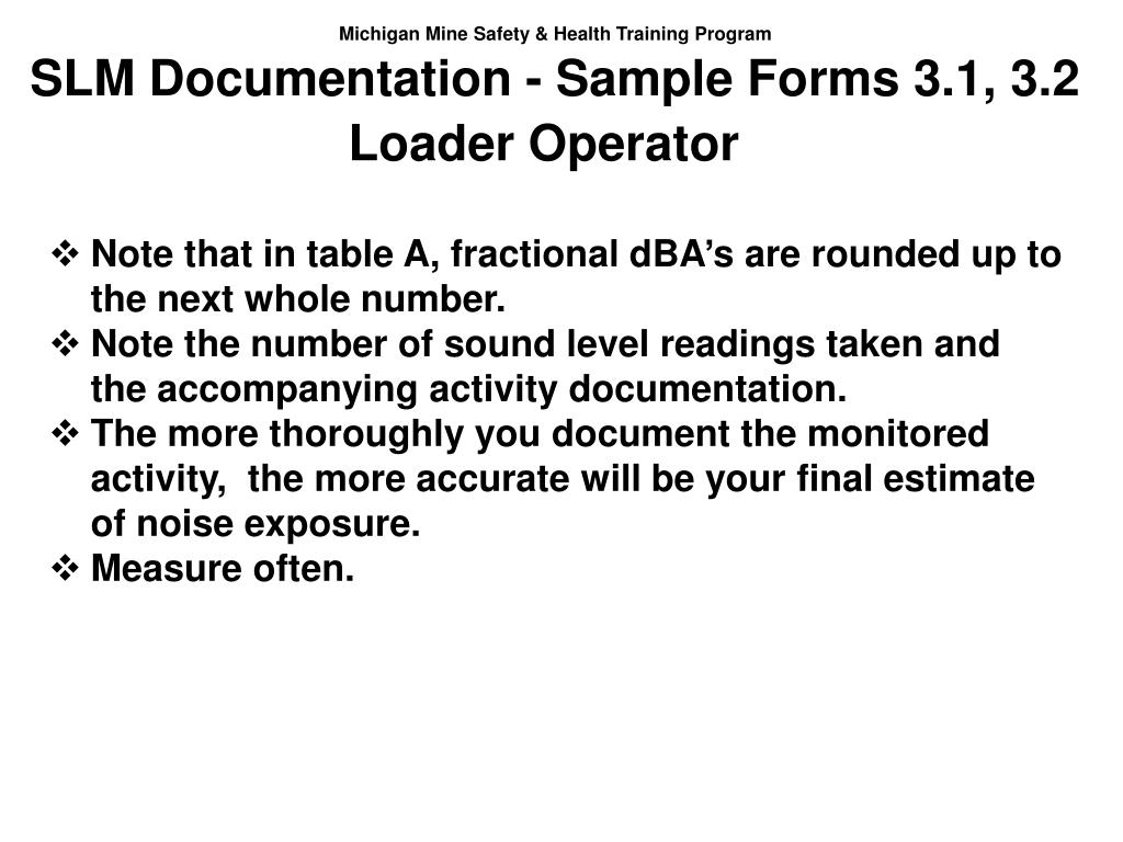 SLM Documentation - Sample Forms 3.1, 3.2