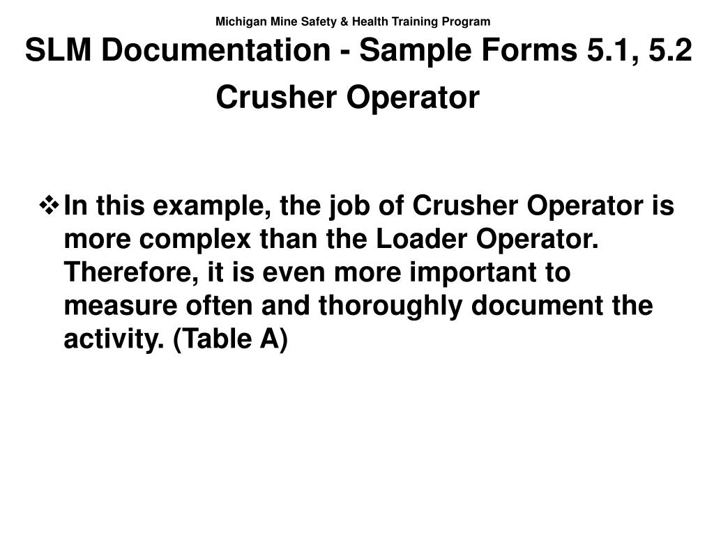 SLM Documentation - Sample Forms 5.1, 5.2