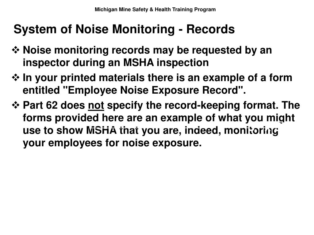 System of Noise Monitoring - Records