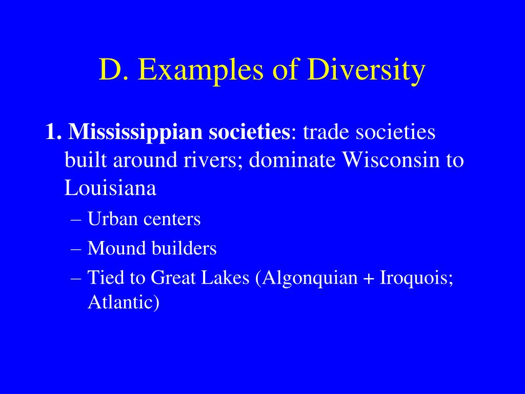 D. Examples of Diversity