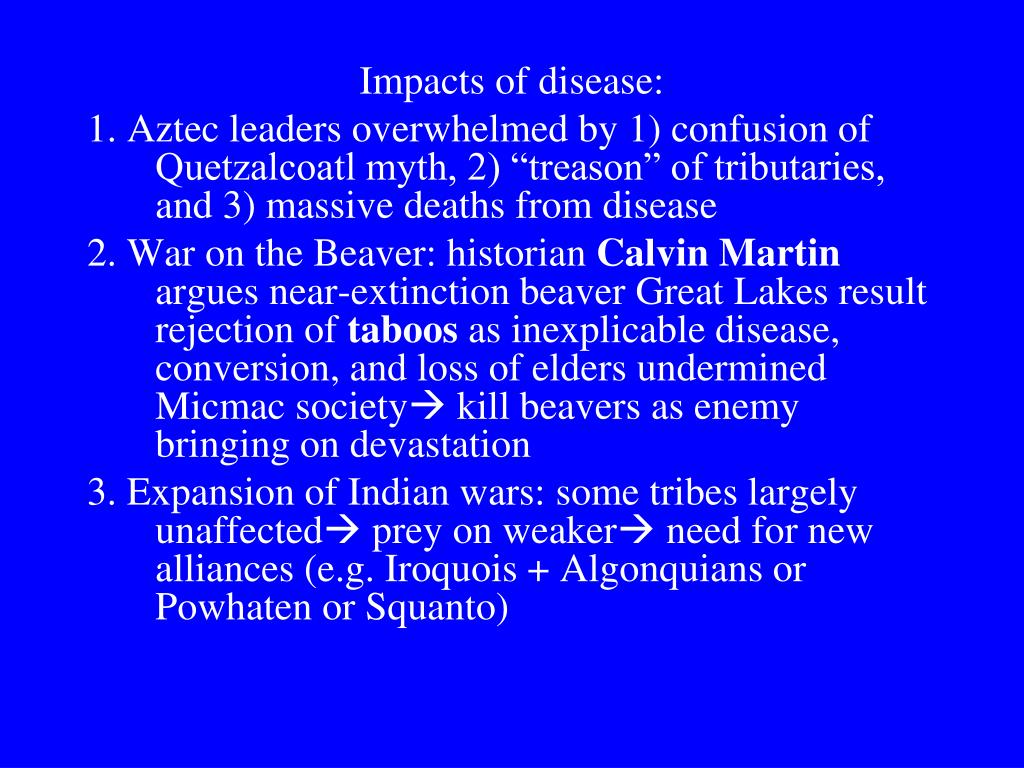 Impacts of disease: