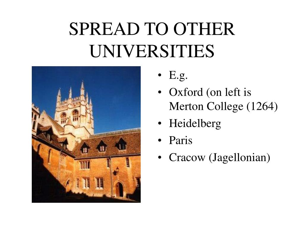 SPREAD TO OTHER UNIVERSITIES