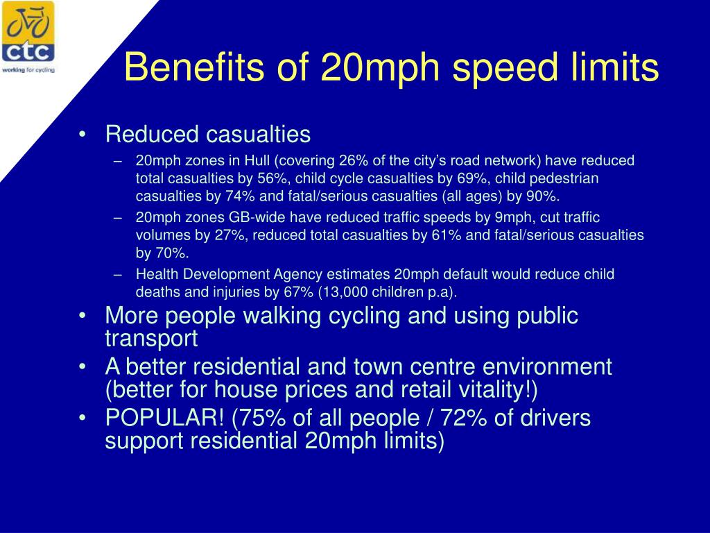 Benefits of 20mph speed limits