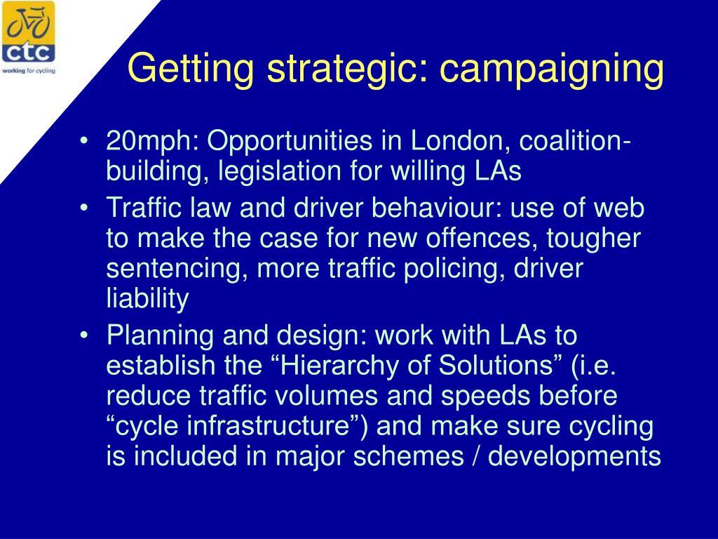 Getting strategic: campaigning