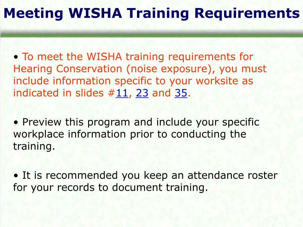 Meeting WISHA Training Requirements