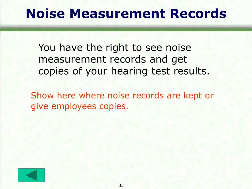 Noise Measurement Records