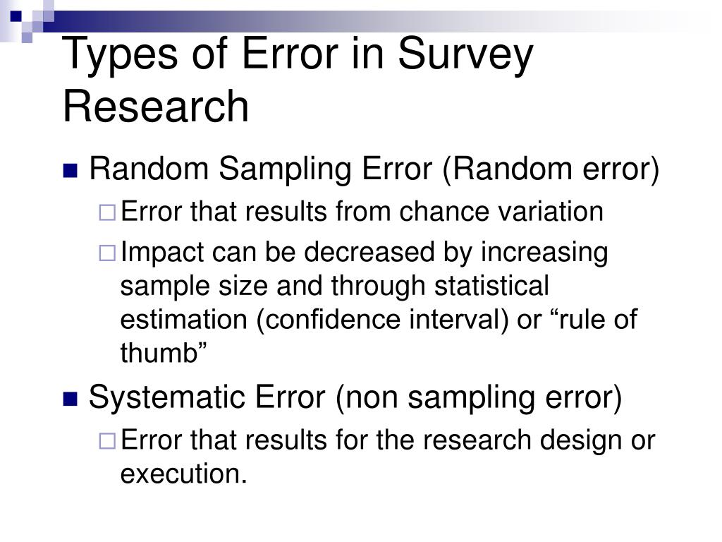 Types of Error in Survey Research