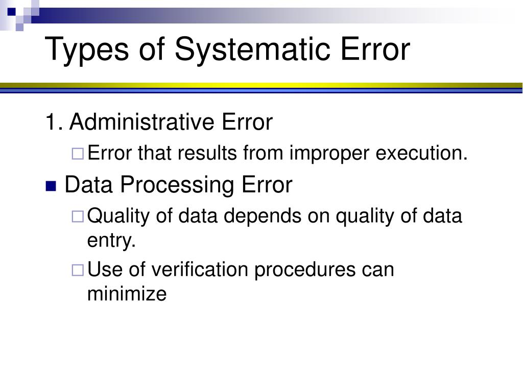 Types of Systematic Error