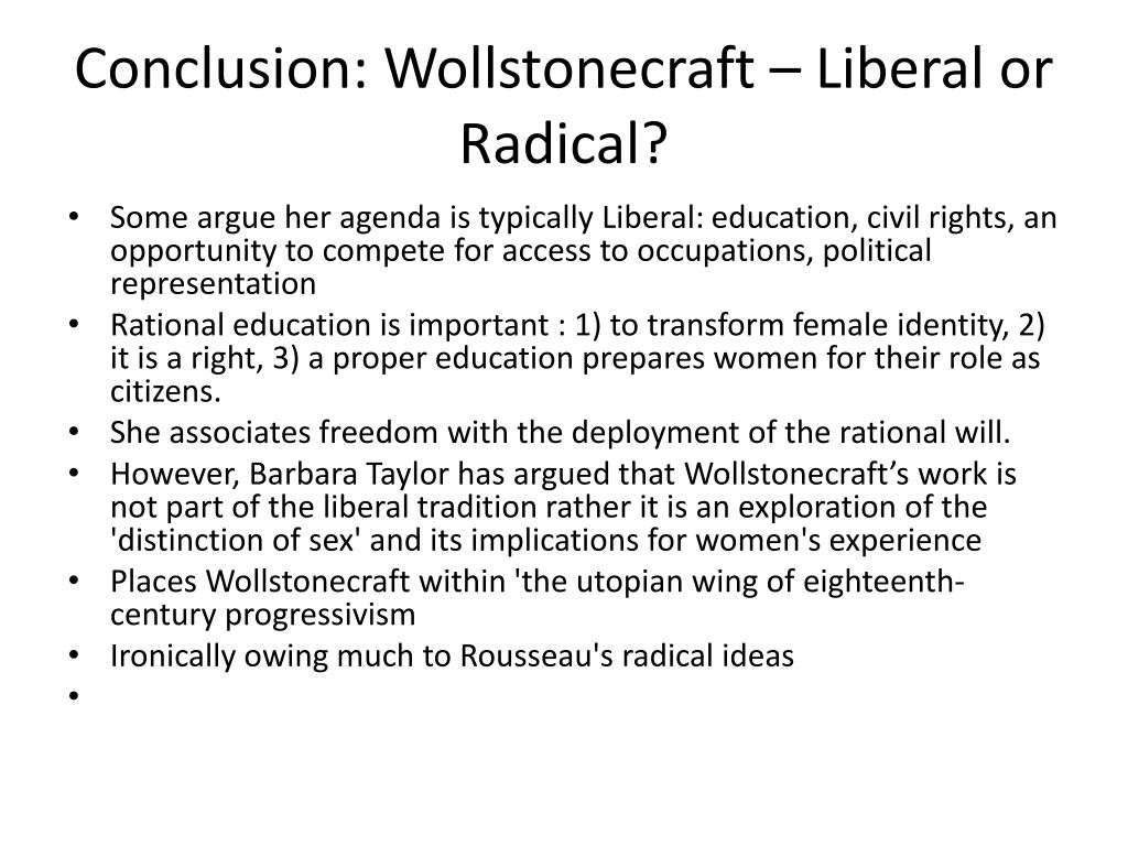 Conclusion: Wollstonecraft – Liberal or Radical?
