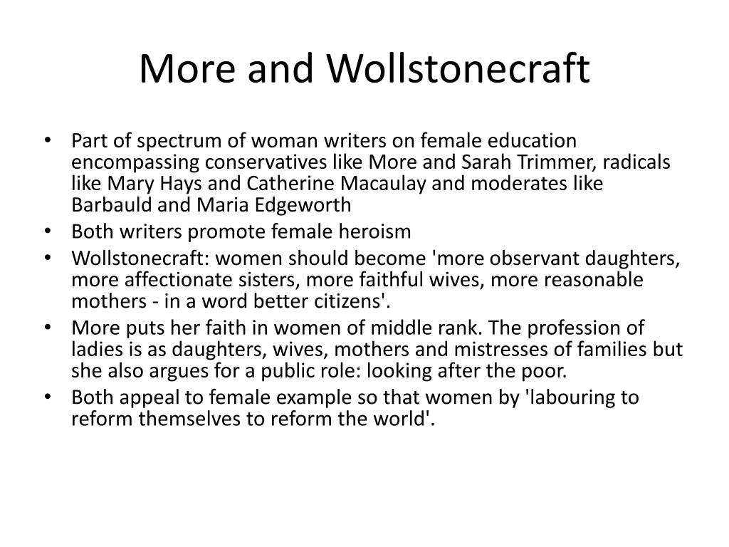 More and Wollstonecraft