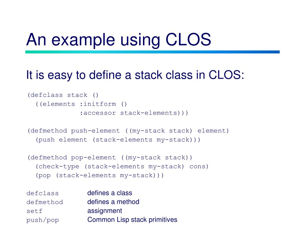 An example using CLOS