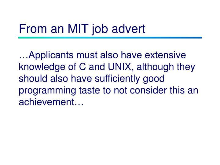 From an mit job advert