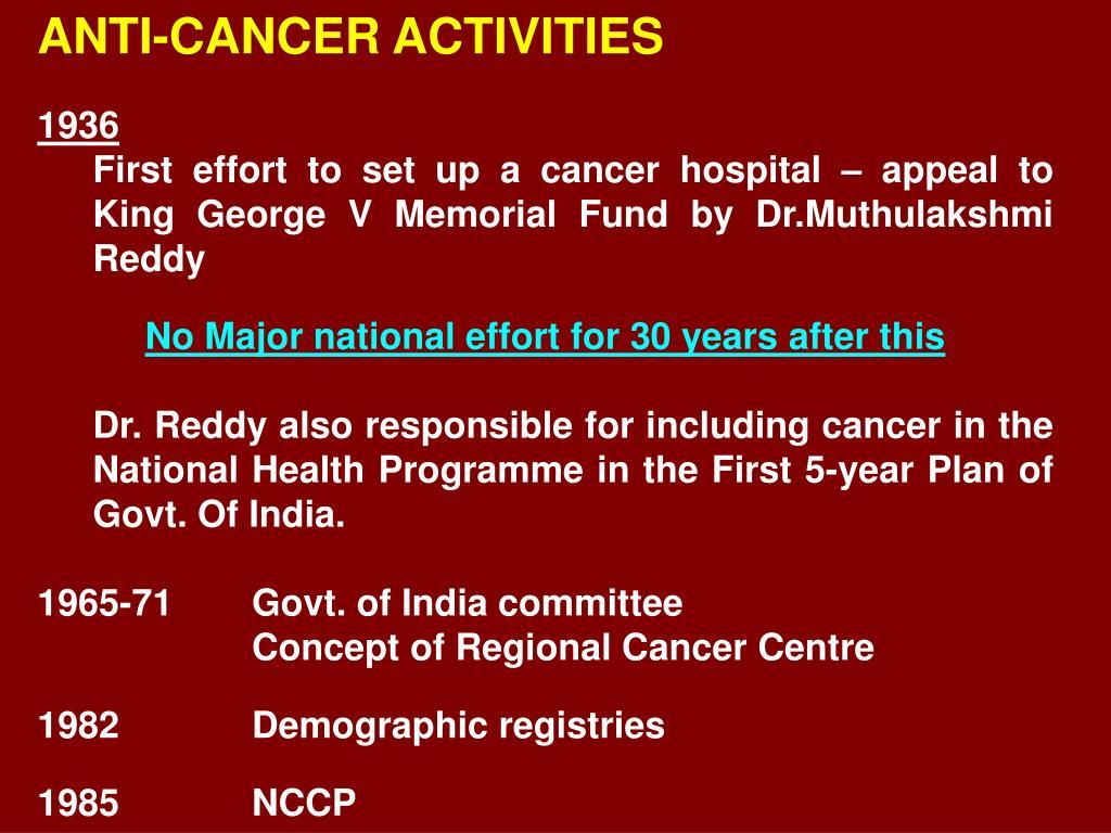 ANTI-CANCER ACTIVITIES