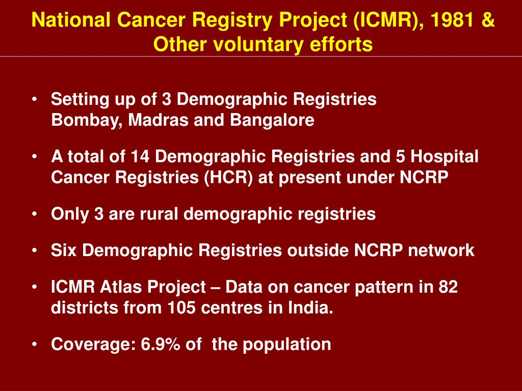 National Cancer Registry Project (ICMR), 1981 &