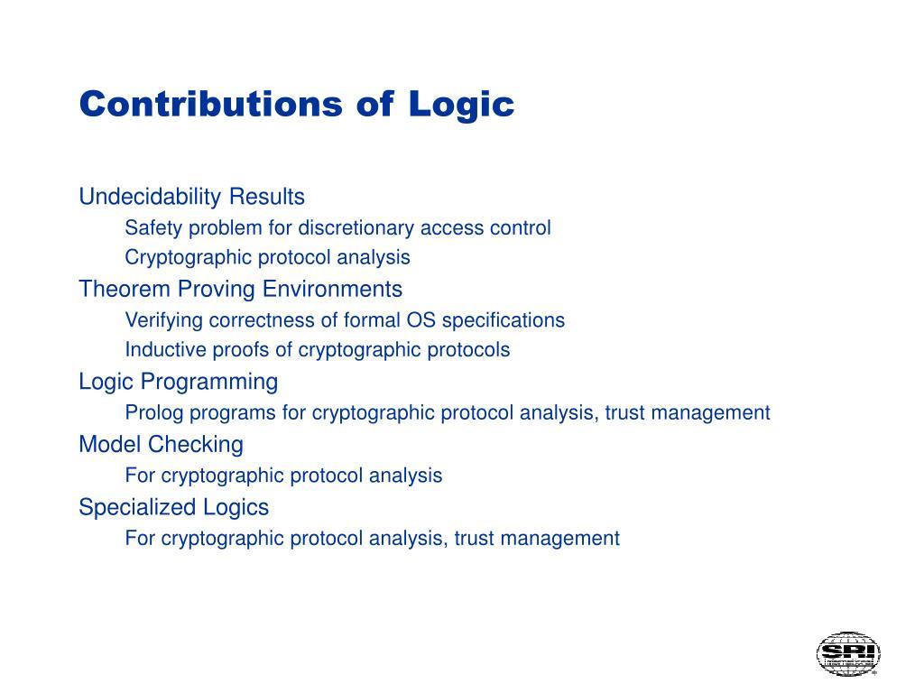 Contributions of Logic