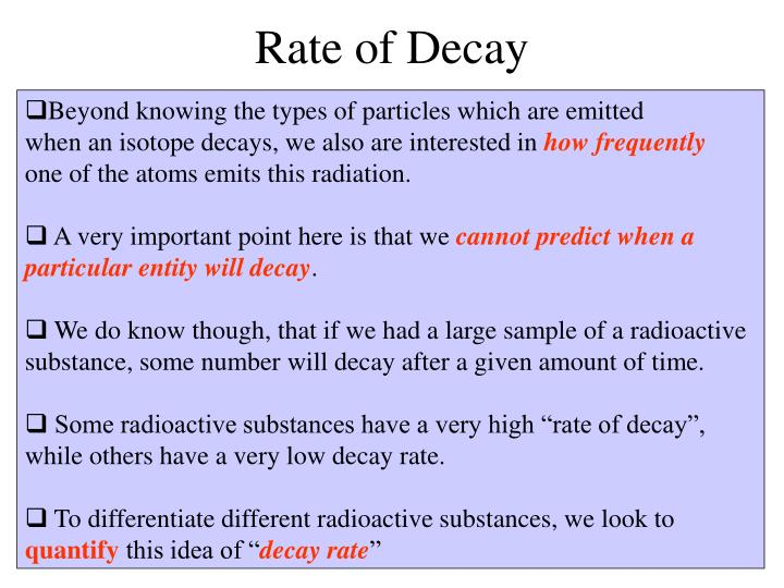 Rate of Decay