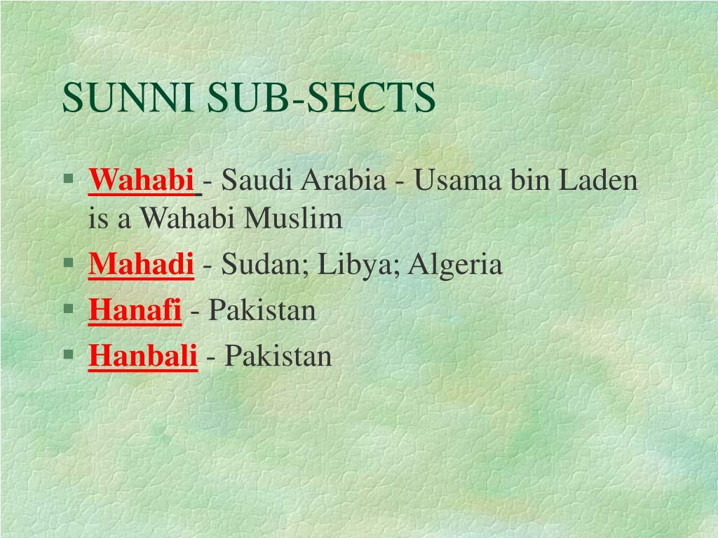 SUNNI SUB-SECTS