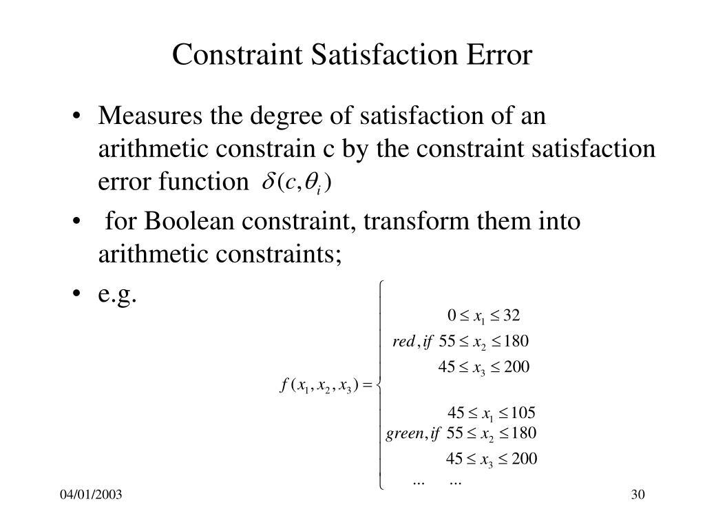 Constraint Satisfaction Error